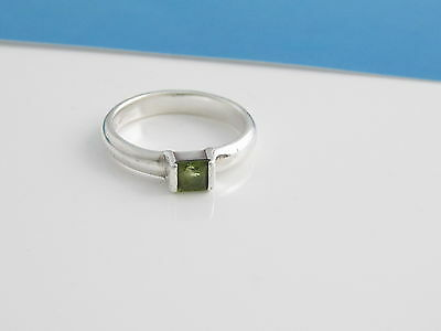 40f56b564 TIFFANY & CO RARE Silver Square Peridot Stacking Ring Size 5.5 ...