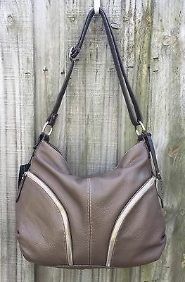 Giordano Italian Made Taupe Brown Pebbled Leather Hobo Shoulder Bag Handbag  NEW ac879452370fd