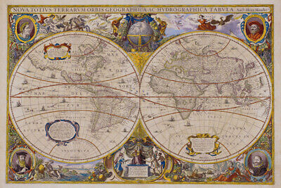 Seventeenth Century World Antique Style Map Poster 18x12 inch
