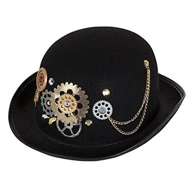 Black Steampunk Bowler Derby Hat Adult Victorian Chains Gears Costume Accessory