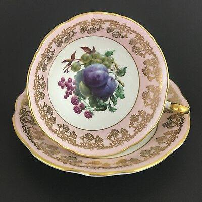 Foley EB Footed Teacup And Saucer Plums Pale Pink Gold Gilding Made In England