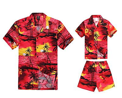 1bc18c07 Matching Father Son Hawaiian Luau Outfit Men Shirt Boy Shirt Shorts PW Red  XL-6