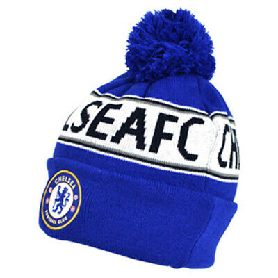 d7d21f36e Official Chelsea Football Club Text Bobble Beanie Winter Hat Club Crest