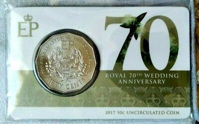 Australia  2017  Royal 70th Wedding Anniversary Carded Uncirculated 50c Coin