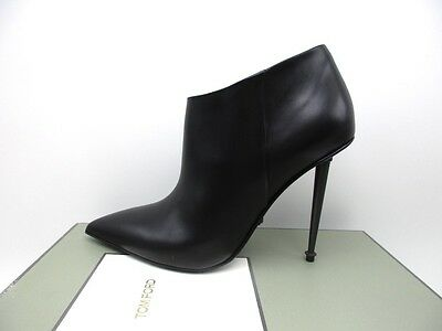 04fcf170f26 Tom Ford Classic Stiletto Ankle Boot Bootie Black Leather Metal Heel  1590  41