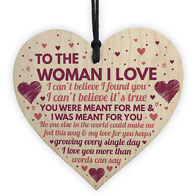 Wife Birthday Gifts Card Wooden Heart Anniversary For Her Girlfriend Signs