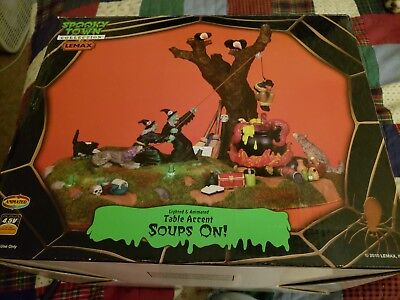 RARE LEMAX~Spooky Halloween SOUPS ON Witch Cauldron Wolf Cooking Animated MIB