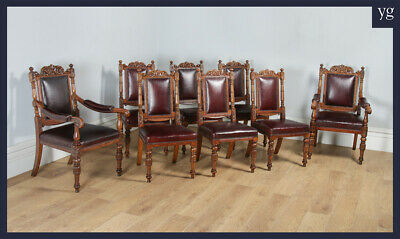Antique Set of Eight Victorian Oak & Red Leather Carved Boardroom Dining Chairs