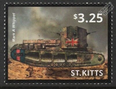 WWI British Army Medium Mark A WHIPPET Tank Stamp (2015 St Kitts)