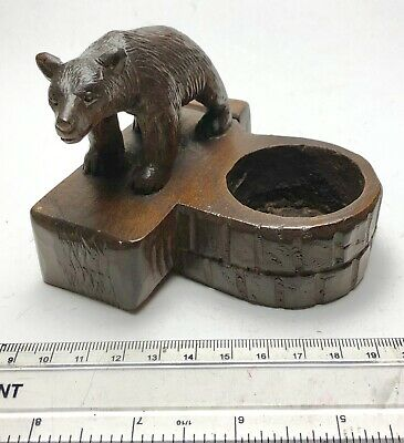 Antique Hand Carved Black Forest Trinket Dish Bear - Circa 1890's - Unusual