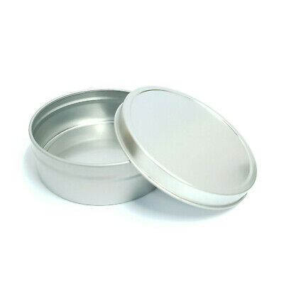 10x Round Candle Tin Silver 125ml Metal Seamless WAX Soy  Container Jar Slip Lid
