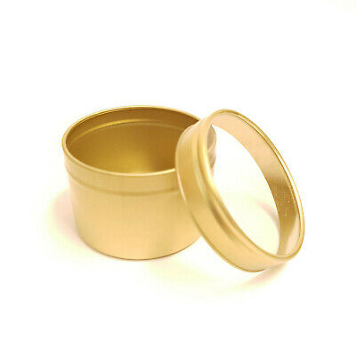 5x  Round Candle Tin Gold 100ml Metal For WAX Soy Container With Window Seamless