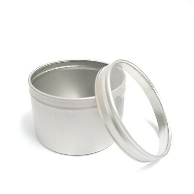 5x  Round Candle Tin Silver 250ml Metal For WAX Making Soy Container Window