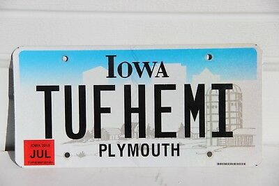 Iowa License Plate personalized  TUFHEMI farm background