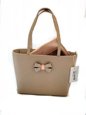 c15ae958c49 TED BAKER Bowmisa Bow Detail Taupe Leather Bag - Brand New With Tag-At Offer