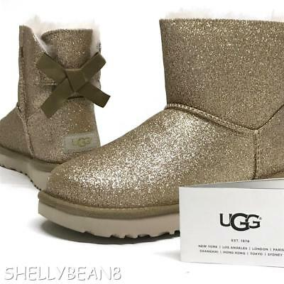 17ba259cbe1 UGG MINI BAILEY BOW SPARKLE Glitter Boots Booties SHEARLING Fur ...