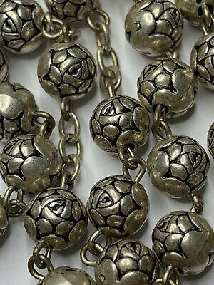 """† Modern Style Pilgrimage """"fatima"""" Soil Relic Silver Toned Rose Shaped Rosary †"""