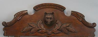 Antique 19thC Hand Carved, Black Forest Walnut Bear, Architectural Fragment