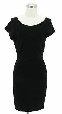 3b0701289b A229 BCBG MAX AZRIA Designer Dress Size M Black Solid Bodycon Sleeves Casual