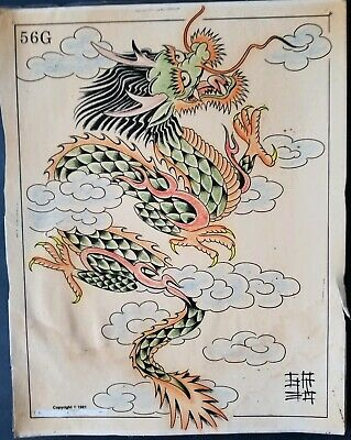 vintage '81 s&r huck production asian dragon tattoo flash jack armstrong colors