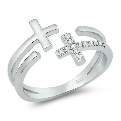 Open Cross Unique Christian Ring White CZ .925 Sterling Silver Band Sizes 5-10