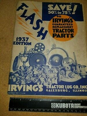 Vintage Tractor Parts Catalog 1937 IRVINGS TRACTOR LUG CO. GALESBURG, ILLINOIS