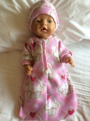 "Doll clothes - Sleeping Bag & Hat To Fit 17"" Baby Born Doll ~ Pink - Cupcakes"