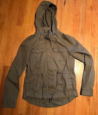 60a4289fb55 WOMENS DIVIDED H&M Dark Green Hooded Military Army Utility Cargo Jacket  Size 4