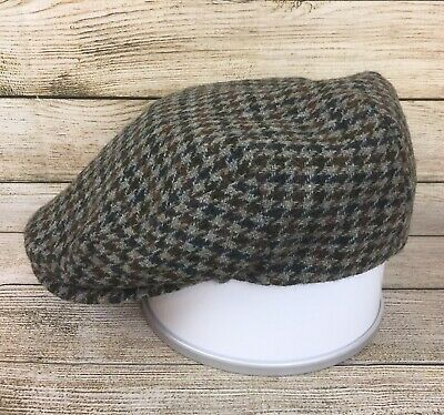 Christys  London Handmade Harris Tweed Flat Cap XL UK Houndstooth Hat Wool ca51a3a7f0c