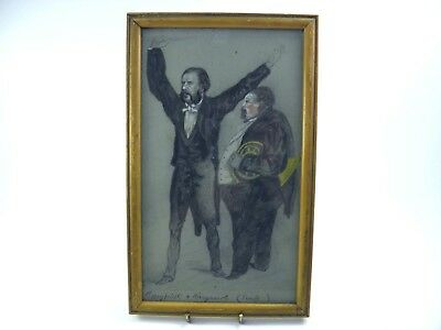 Antique 19th century watercolour painting portrait of a conductor & musician