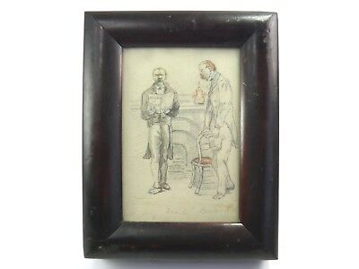 Antique 19th century watercolour painting caricature portrait of two gentleman
