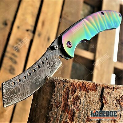 "8"" Rainbow Buckshot Cleaver Pocket Folding Knife Shaver Style Razor Blade"