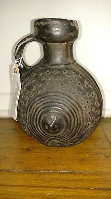 Antique pre Columbian Chimu style Anthropomorphic pottery jug