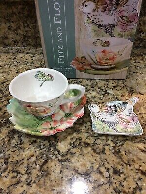Fitz And Floyd English Garden Collection Three Piece Tea Cup, Saucer, Rest Set