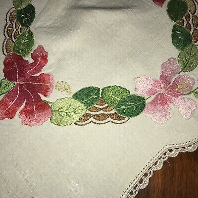 Vintage Linen Heavily Hand Embroidered Hibiscus Runner Crochet Lace Pink
