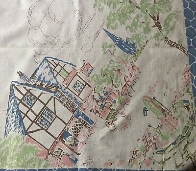 Vintage Thatched Cottage & Horse & Carriage Tablecloth