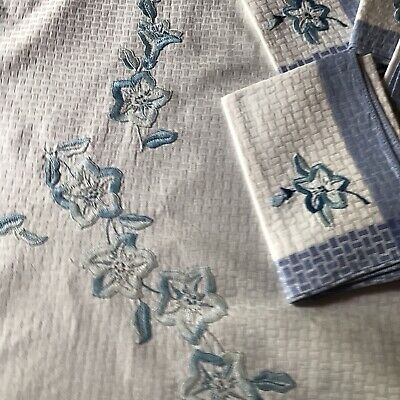 Vintage Hand Embroidered Convolvulus Tablecloth & Napkins Blue