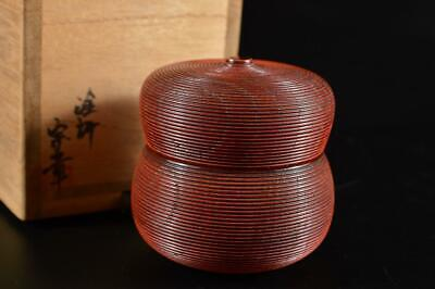 G16: Japanese Wooden Lacquer ware Ring line sculpture TEA CADDY Natsume Chaire