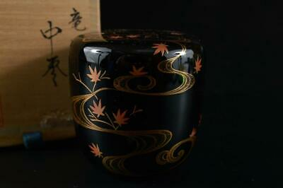 G38: Japanese Wooden Lacquer ware TEA CADDY Natsume w/signed box