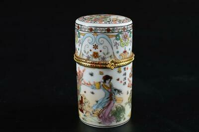 G477: Chinese Colored porcelain Person Flower pattern CONTAINER Case Box