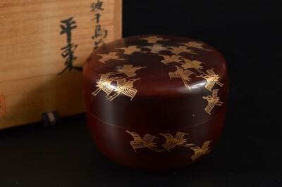 G370: Japanese XF Old Wooden Bird Wave gold lacquer pattern TEA CADDY Natsume