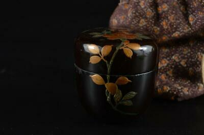 G1047: Japanese Wooden Lacquer ware TEA CADDY Natsume Chaire Container