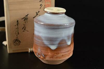 G1977: Japanese Hagi-ware White glaze TEA CADDY High class lid w/signed box