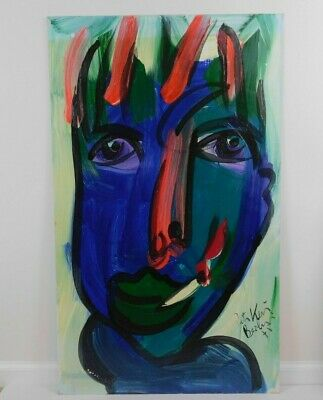 Peter Keil German Neo-Expressionism Abstract Smoker Face Portrait Oil Painting