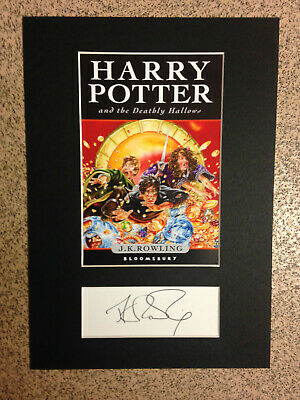 Harry Potter & the Deathly Hallows - Book Cover & *RARE* J.K.Rowling Autograph