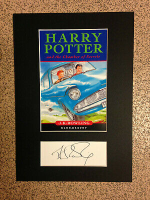 Harry Potter & The Chamber Of Secrets - Book Cover & *RARE*J.K.Rowling Autograph