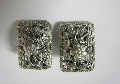 Antique Vintage Art Deco 800 Silver Filigree Earrings Signed Hsn