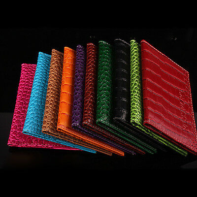 Pop Alligator Embossing Passport Holder Protector Wallet Faux Leather Cover FT