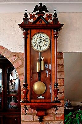 Antique German 'SCHUTZ MARKE, HE & Co' Twin Weight Vienna Wall Clock Circa 1870