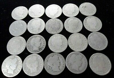 Half Roll of 20 Barber Quarters 90% Silver Circulated $5.00 Face Value